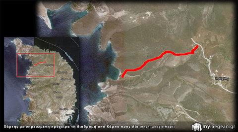 Χάρτης με διαδρομή απο Κάμπο προς παραλία Λίας - Σύρος