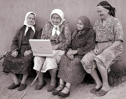 old women with laptop