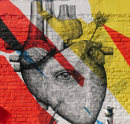 art graffiti heart eye wall painting London