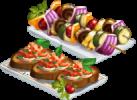 Bruschetta & Veggie Kebabs