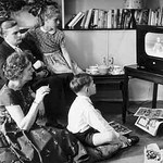 family watching tv old times