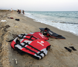 life vest beach refugees Greece