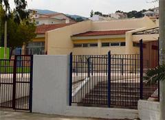 View front door from a public school complex in Greece